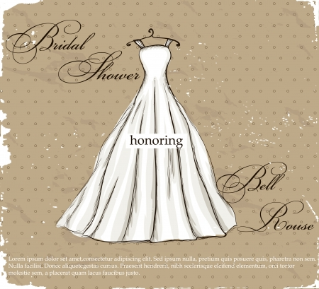 wedding dress silhouette: Vintage poster with beautiful wedding dress   illustration   Illustration