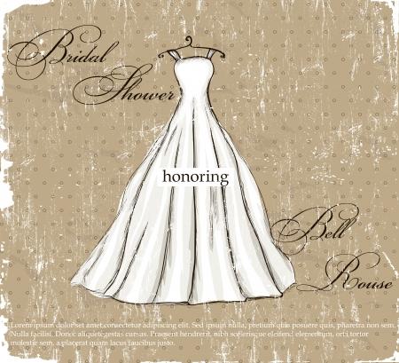 cartel de la vendimia con la ilustración hermoso vestido de novia