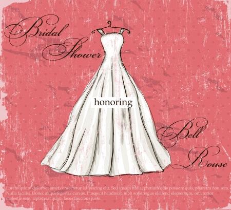 Vintage poster with beautiful wedding dress   illustration   Illustration