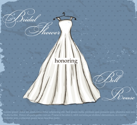 Vintage poster with beautiful wedding dress   illustration   illustration