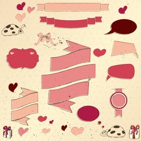Set of vintage deign elements about love   illustration