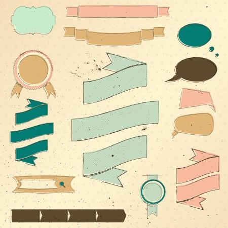 Vintage website design elements set   illustration