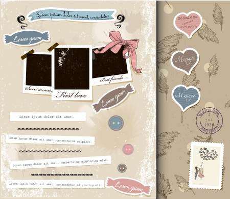 love stamp: Vintage scrapbook elements set 2   illustration   Illustration