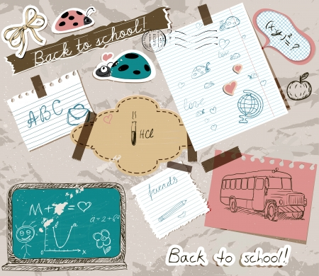 scrapbooking set with school elements   illustration   Vector