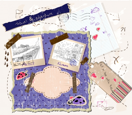 scrapbooking set with stamps and photo frames   illustration