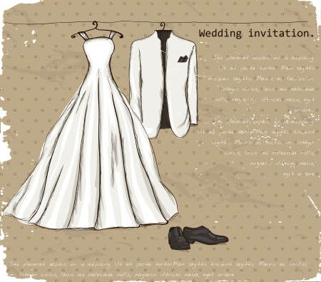 wedding dress: Vintage poster with with a wedding dress and tuxedo   illustration   Illustration