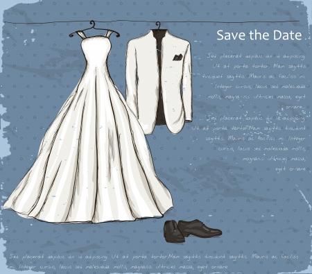 cartel de la vendimia con un vestido de novia y esmoquin ilustración