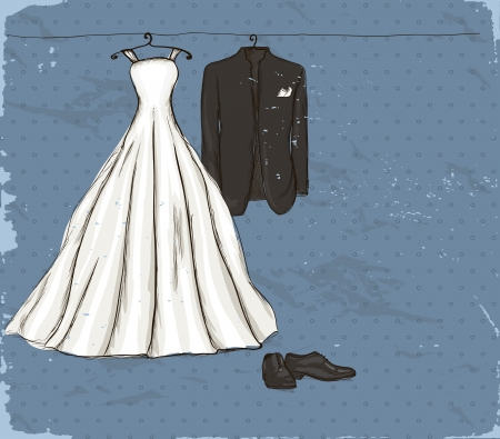 Vintage poster with with a wedding dress and tuxedo   illustration   Illustration