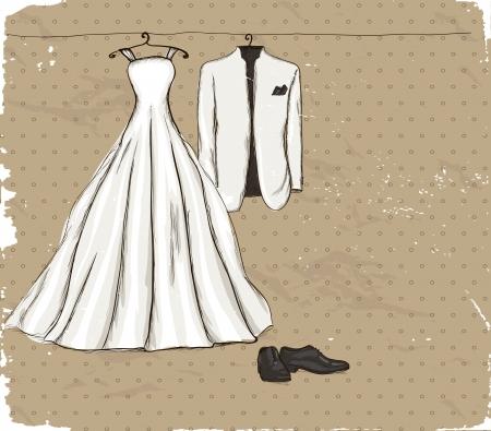 ウェディングドレス: 結婚式のドレスとタキシードのイラストとビンテージのポスター