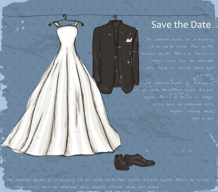 wedding symbol: Vintage poster with with a wedding dress and tuxedo   illustration   Illustration