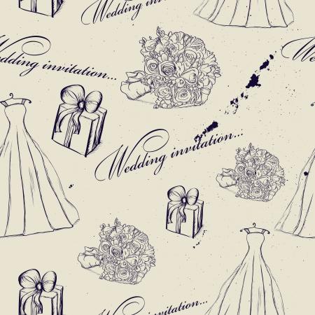 cartoon bouquet: Vintage wedding seamless texture   illustration
