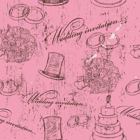 bridal bouquet: Vintage wedding seamless texture   illustration