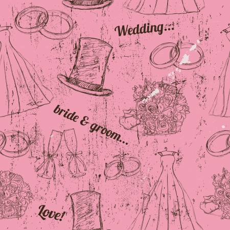 Vintage wedding seamless texture   illustration   Vector