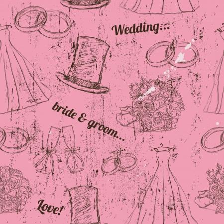 Vintage wedding seamless texture   illustration