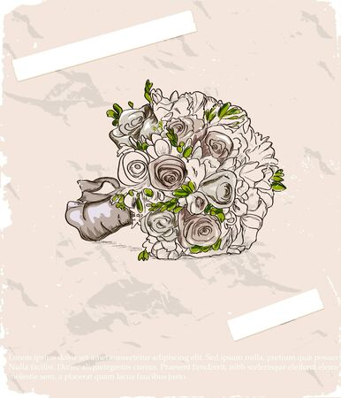 hand drawn rose: Wedding bouquet  Hand drawn illustration