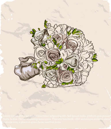 bridal bouquet: Wedding bouquet  Hand drawn illustration