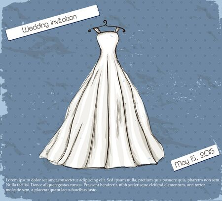 Vintage poster with beautiful wedding dress   illustration   Vector