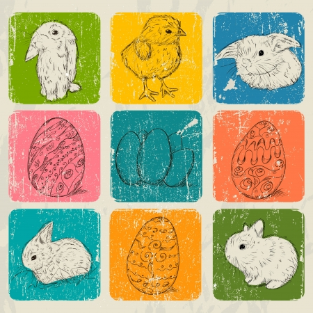 Vintage poster about Easter  Vector illustration EPS8