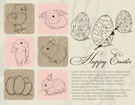 Vintage poster about Easter Stock Vector - 18247619