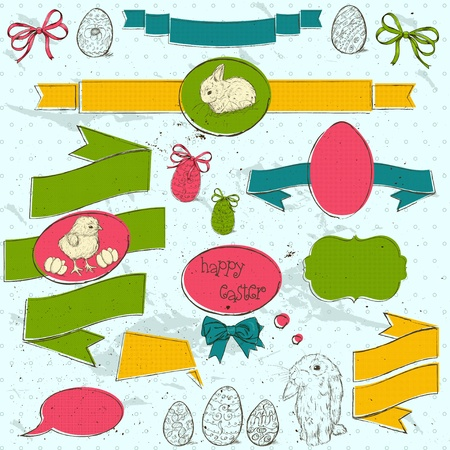 Set of vintage deign elements about Easter  Vector illustration EPS10 Stock Vector - 18275460