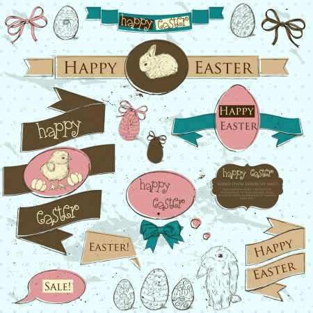 Set of vintage deign elements about Easter  Vector illustration EPS10 Vector