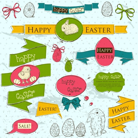 Set of vintage deign elements about Easter  Vector illustration EPS10 Stock Vector - 18275459