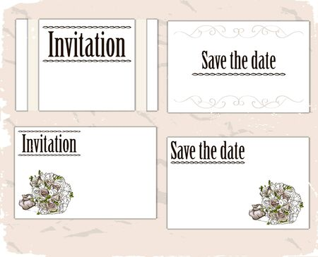 Vintage invitation cards set illustration  Stock Vector - 18853055