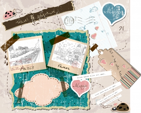 scrapbooking set with stamps and photo frames illustration Stock Vector - 18853076