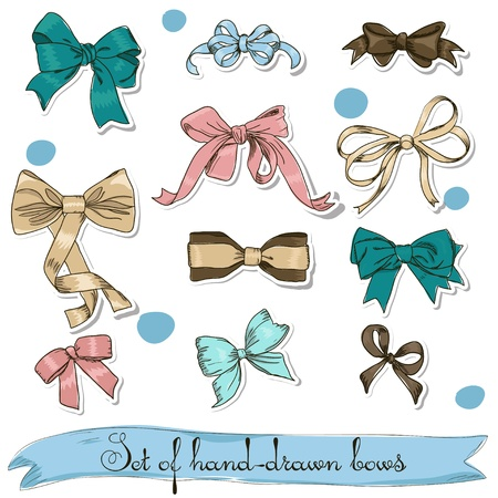 pink satin: set of vintage bows illustration Illustration