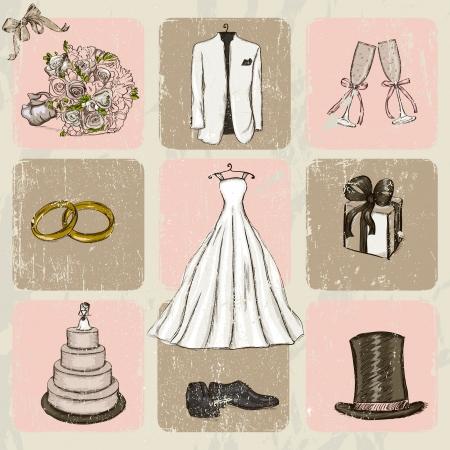 Vintage wedding poster   Illusztráció