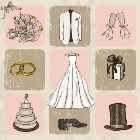 Vintage wedding poster   Vector