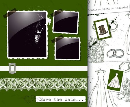 Vintage wedding poster illustration  Vector