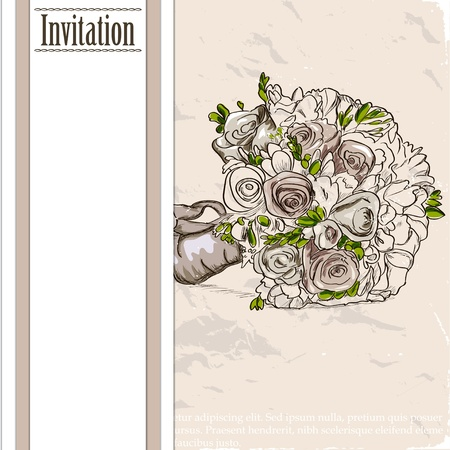 Vintage card with wedding bouquet illustration illustration