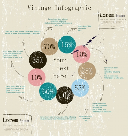sales chart: Retro infographic with ink arrows  Vector illustration EPS8 Illustration