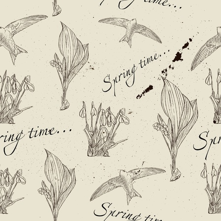 Vintage seamless texture about spring  Vector illustration EPS8