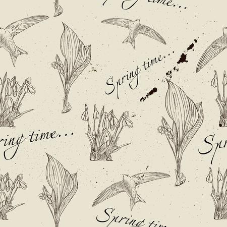 martinet: Vintage texture homog�ne sur le printemps Vector illustration EPS8