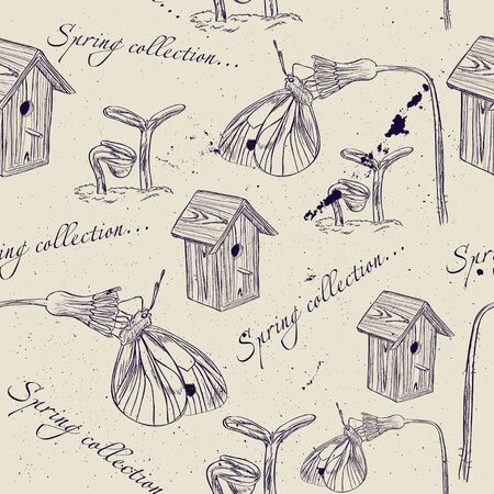 Vintage seamless texture about spring  Vector illustration EPS8 Vector