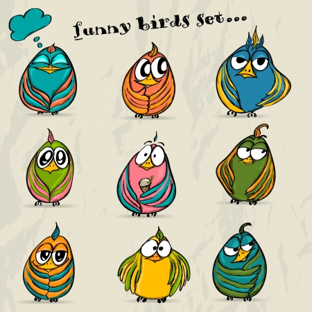 angry baby: Set of 9 funny cartoon birds  Vector illustration EPS8