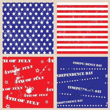 Set of seamless textures with USA Independence Day symbols  Vector illustration EPS8 Vector