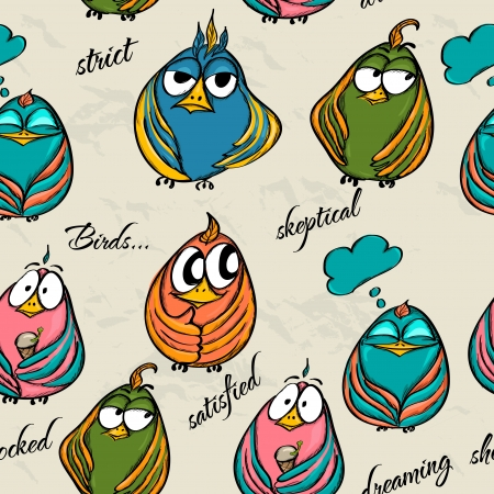 woodpecker: Seamless texture with funny birds  Vector illustration EPS8 Illustration