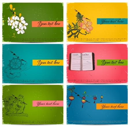 vintage business cards set. Vector illustration