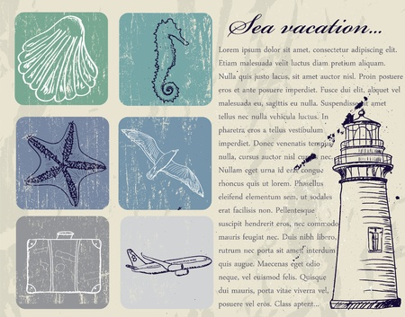Vintage set of sea travel icons. Vector