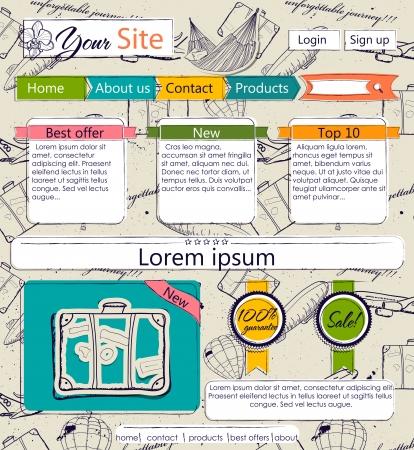 Modèle de site Web avec des éléments vintage. Texture transparente incluse dans un échantillon.