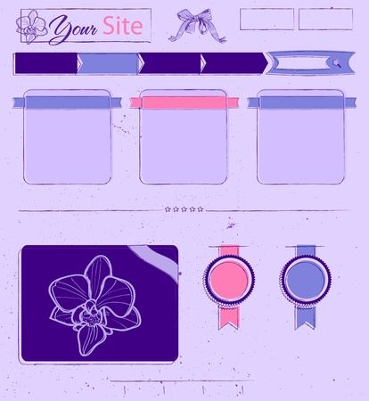 Website template with lilac vintage elements. Vector