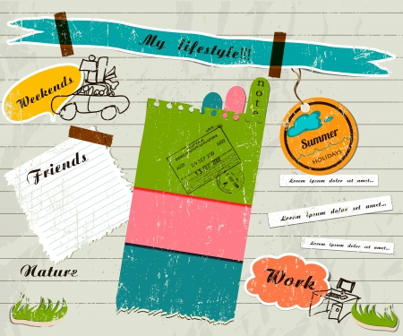 notebook paper background: scrapbook details set.