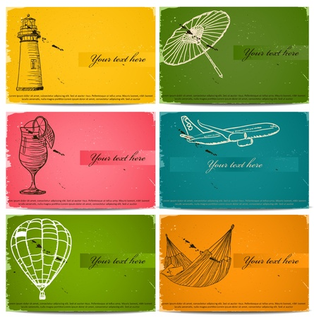 vintage business cards set. Vector