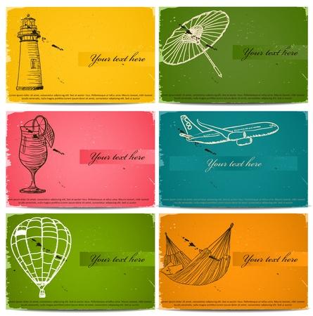 vintage business cards set. Illustration