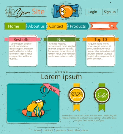 cartoon birds: Website template with cartoon birds.