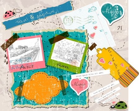 scrapbooking set with stamps and photo frames.  Vector