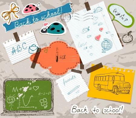 scrapbooking set with school elements. Illustration